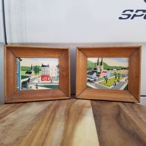 Vintage Town/Village Landcape Wall Art Set